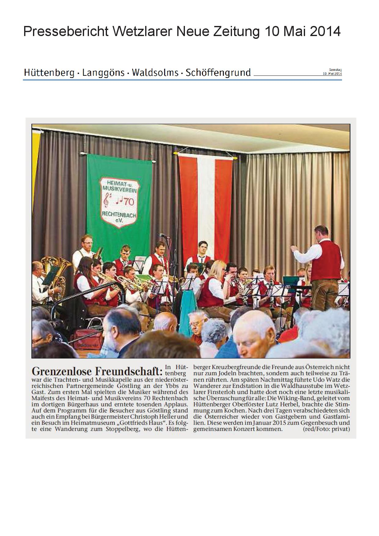 Pressebericht 01. Mai 2014